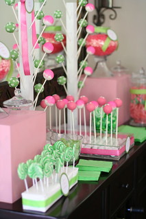 Table One of Pink and Green Candy Display | by Sweet Lauren Cakes