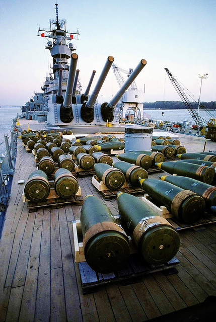 16-inch projectiles, USS Iowa | Prior to being offloaded
