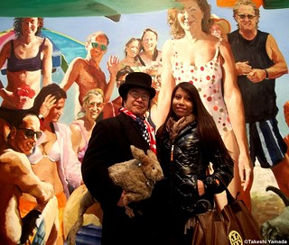 Seara (sea rabbit), Dr. Takeshi Yamada and muse of art at the Chelsea art gallery district in Manhattan, New York on March 1, 2012.   20120301 066. Painting by Eric Fischl. | by searapart12