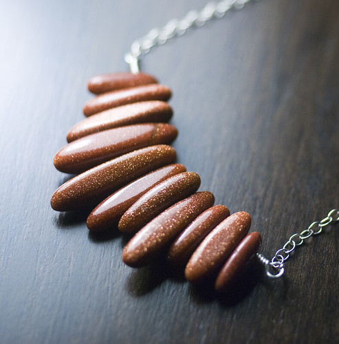 """Red Dunes"" - Red-Brown Glittering Goldstone Dagger Pendant Necklace by Moss & Mist Jewelry 