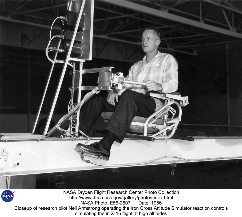 Closeup of research pilot Neil Armstrong operating the Iro ...