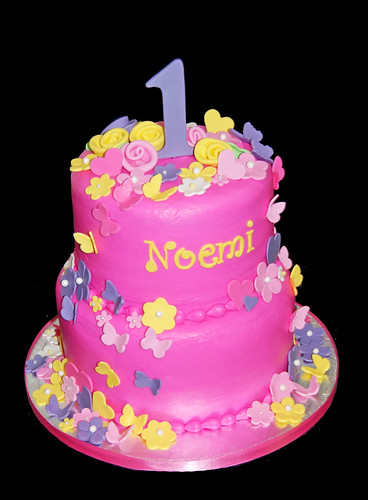 1st birthday pink purple and yellow cake with butterflies, flowers and hearts | by Sweet Shoppe Mom and Simply Sweets