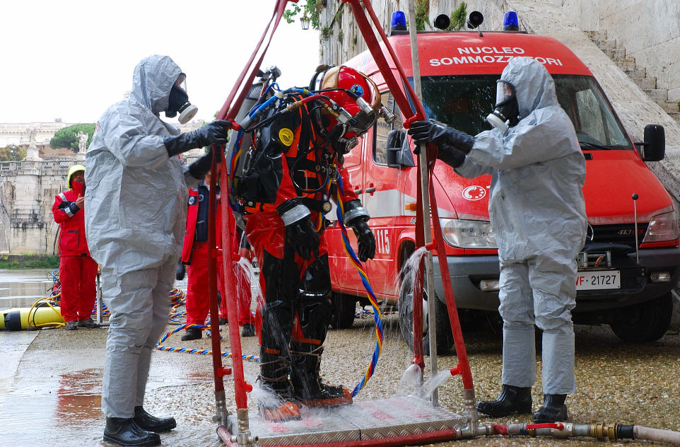 Viking Diver Ready To Enter Decon Shower Dive Tenders In