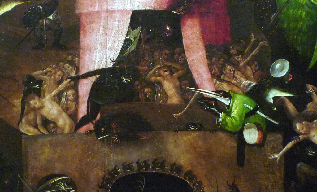 Hieronymus bosch the last judgement right panel detail w for Jardin des delices j bosch