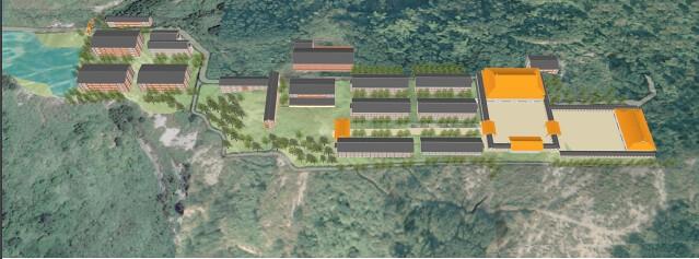 「台中市南海觀音寺開發案」開發模擬圖。圖片來源:取自環評簡報資料。
