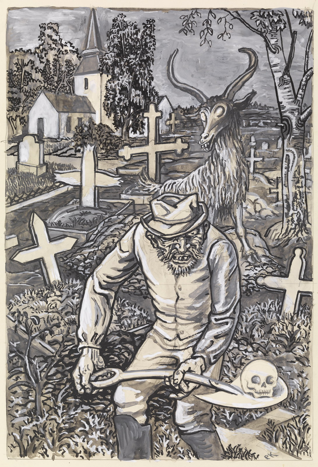 """Per Krohg - """"One could not say that he was a beautiful old man."""" Illustration for """" Grave 's stories """" , P. Chr. Asbjørnsen and J. Moe,Total Adventure , 1936"""