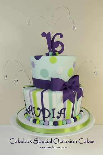 Claudia S Sweet 16 Two Tiered Sweet 16 Cake With Fondant