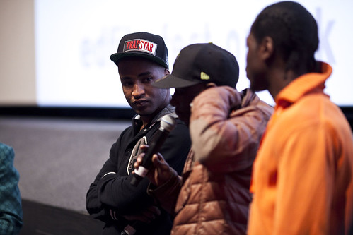 Dylan Duffus and Shabba from the One Mile Away cast after an Education screening at Cineworld | by Edinburgh International Film Festival