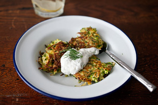 zucchini green garlic latkes | by sassyradish