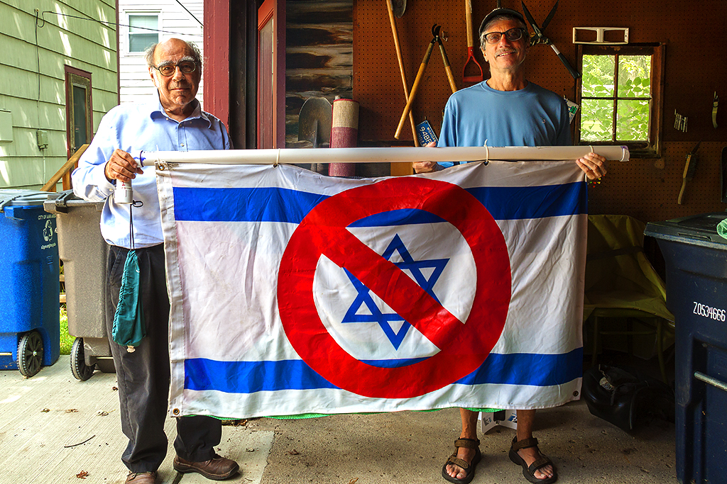Henry and Rudy with anti-Israel flag--Ann Arbor