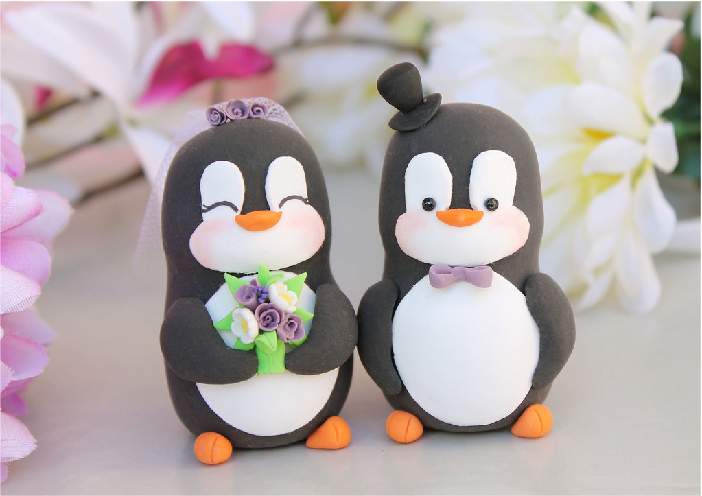 penguin cake toppers wedding penguins wedding cake toppers purple white 6441