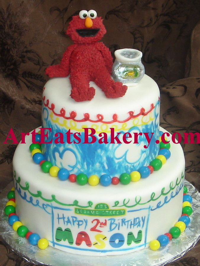 Two Tier Elmos World Seseame Street Hand Painted Birthday Flickr