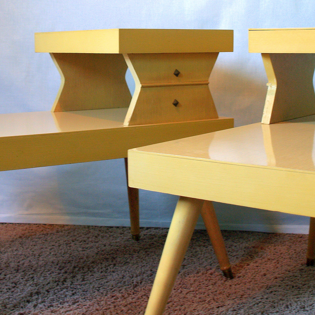 Atomic end tables vintage 50s mid century modern blonde 2 for Retro end tables