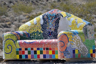 Mosaic settee at Rhyolite ghost town | by gordon2208
