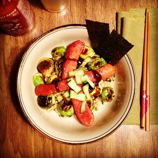 Brussels sprout and sausage abura soba | by Neven Mrgan