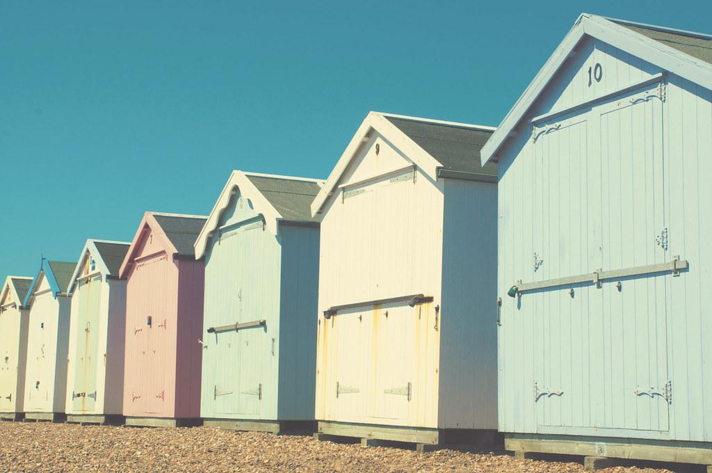 Beach Huts Pastel