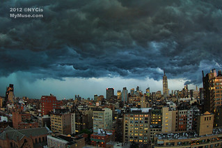 Fisheye view: Angry sky as the big derecho storm rolls through NYC | by NYCisMyMuse