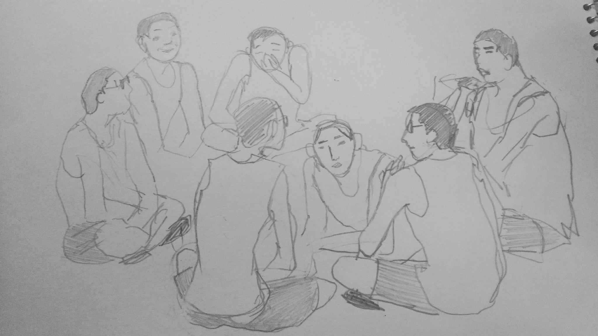 獄中工作坊無法拍攝劇照,劇場同仁以手繪素描紀錄了演出排練過程。(差事劇團提供)