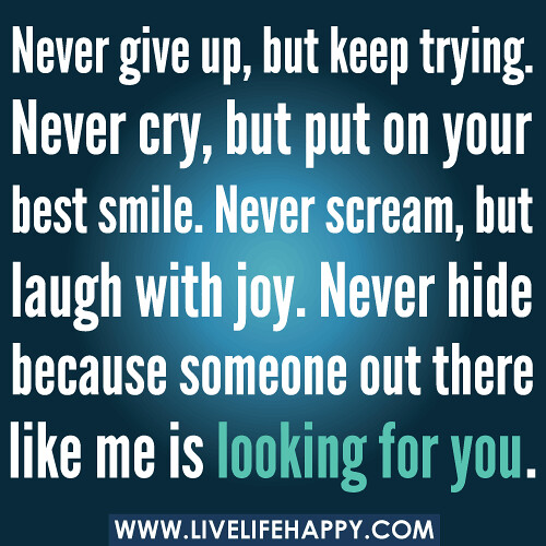 Smile When You Want To Cry Laugh To Hide The Pain Keep: Never Give Up, But Keep Trying. Never Cry, But Put On Your