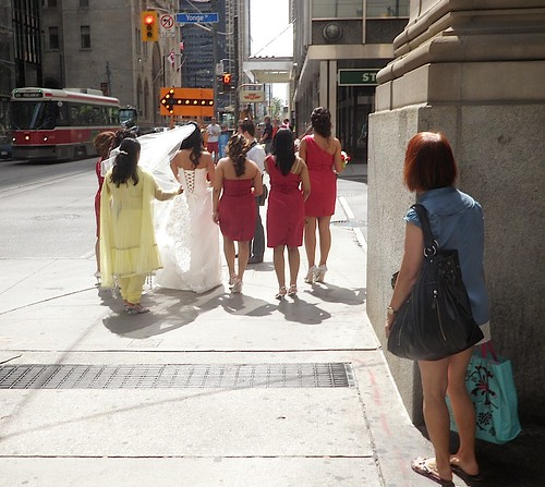 The Bride Wore, Green Orange and Red: Trending on the streets of downtown Toronto | by stephenweir