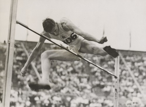 Athlete John Winter winning the high jump event at the London Olympic Games, August 1948. | by National Library of Australia Commons