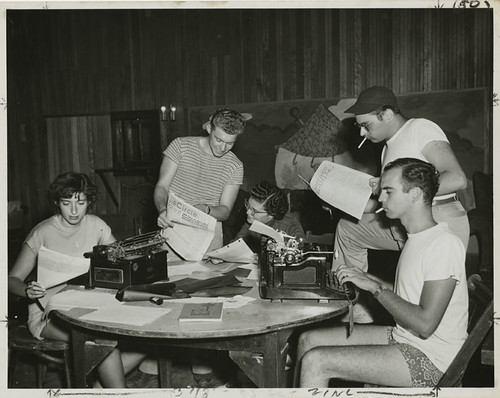 Young men and women working on writing for publications at Camp Wel-Met, 1948 | by Center for Jewish History, NYC