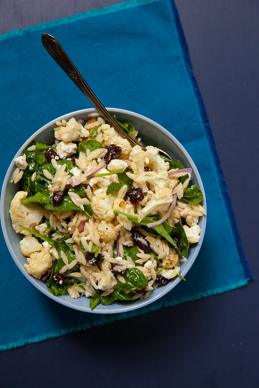 Orzo Salad with Roasted Cauliflower, Spinach and Feta