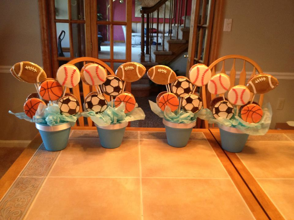 double sided centerpieces for sports themed baby shower flickr