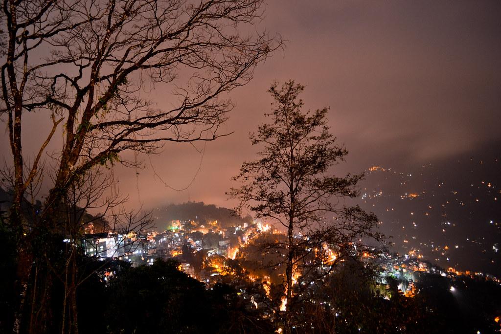 Night view of the Gangtok city