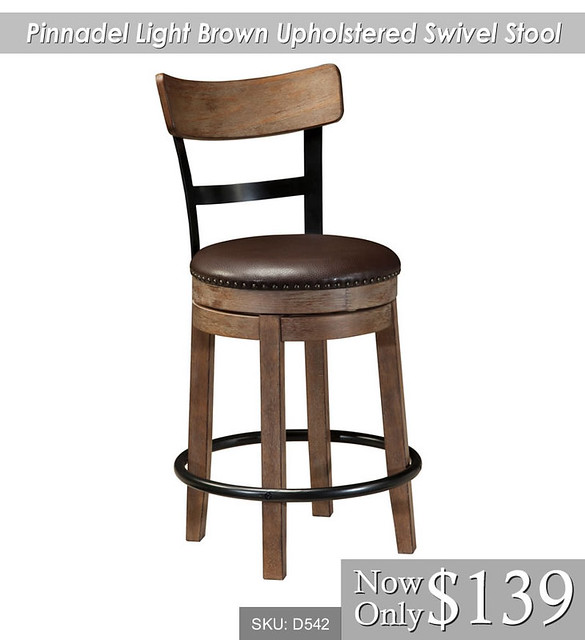Pinnadel Light Brown Upholstered Swivel Stool
