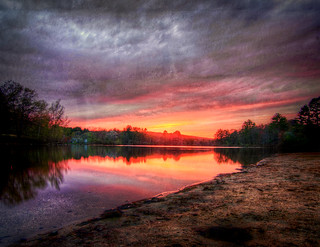 Hopedale Pond Sunset (Textured_ | by John Davenport Photography