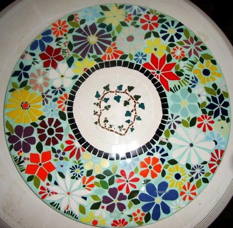 Tampo para mesa de jardim mosaico ceramica 60cm diamet for Mosaico ceramica