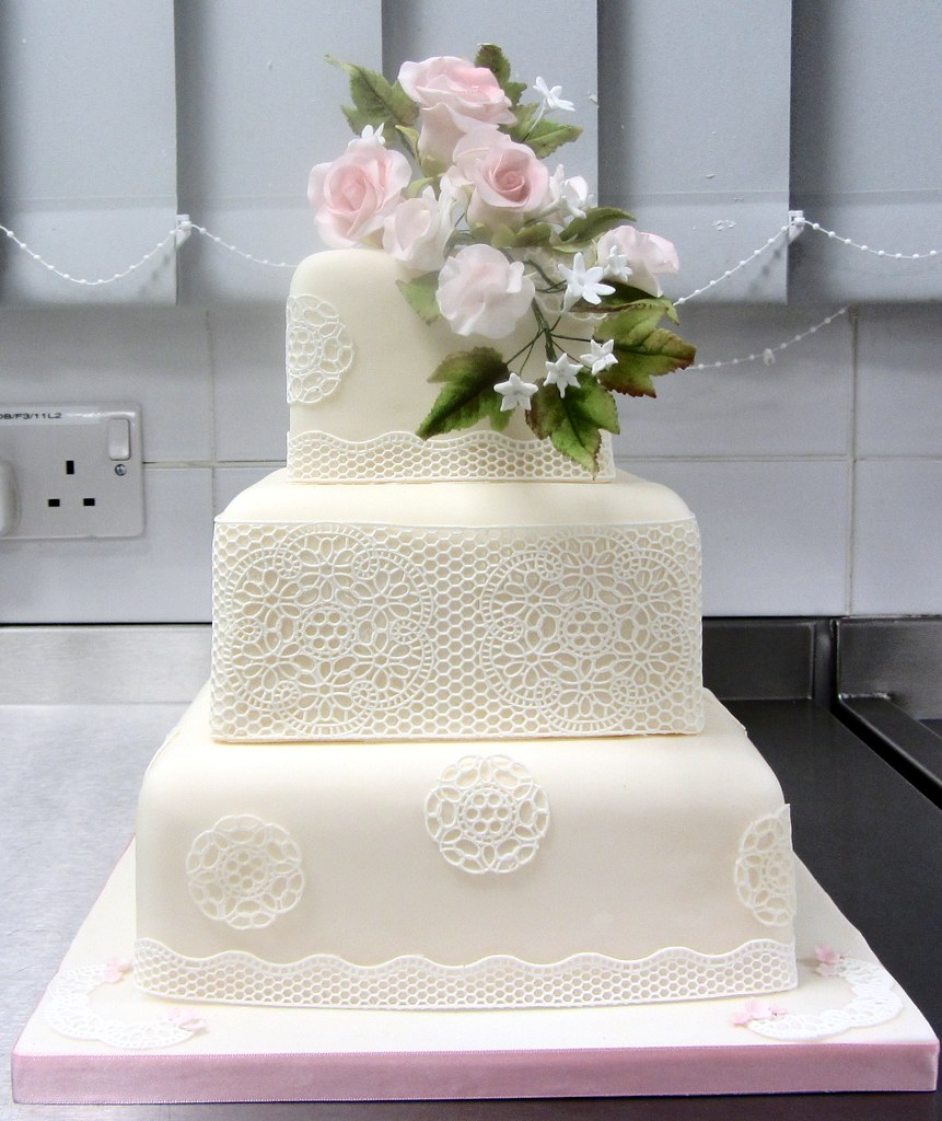 3 Tier Square Wedding Cake with Sugarveil, roses and sweet…   Flickr