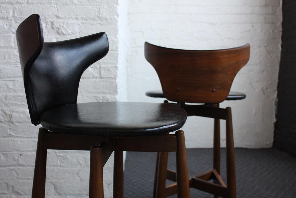 s Alluring Mid Century Modern Kodawood Bentwood Bar Stools Miami Fl USA s