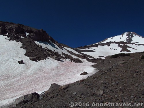 My route was to skirt to the right of the snowfield, then cross it and ascend the snow on the side of the ridge to come up above Butte 9000, then walk down the ridgeline to the Butte proper, Shasta-Trinity National Forest, California