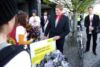 Shell: Own up. Pay up. Clean up event in Prague, Czech Republic | by Amnesty International