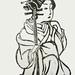 Courtesan Linocut Print based on a print by Harunobu