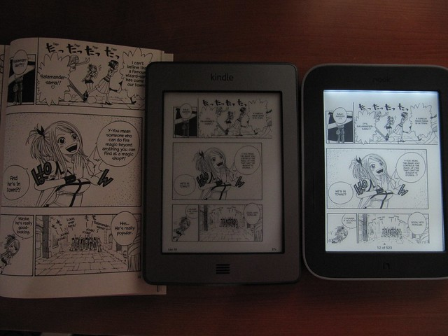 Kindle Vs Sony Reader: Manga On Paper Vs. Kindle Touch Vs. Nook Touch With Glowli