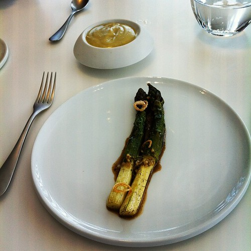 Asparagus, cooked in butter, then hollandaise made from said butter. | by Manne