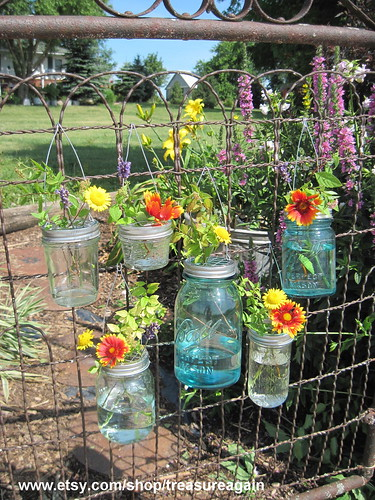 Hook Top Flower Hangers 6 DIY Ball Mason Jar Hanging Flower Frog Lids | by TreasureAgain