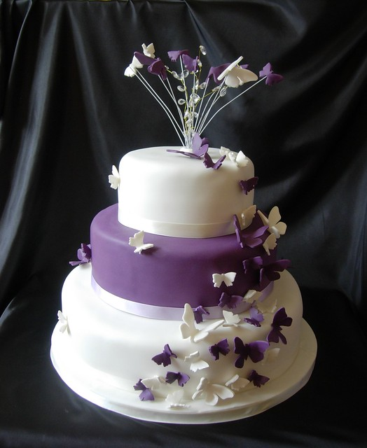purple butterfly wedding cake flickr photo sharing. Black Bedroom Furniture Sets. Home Design Ideas