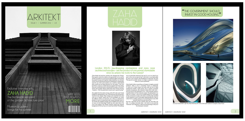 Page layout design for 39 arkitekt 39 magazine front cover for D architecture magazine