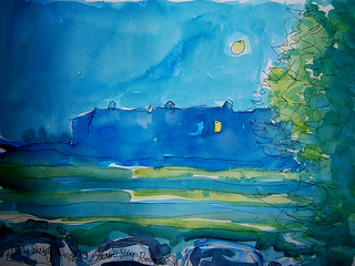 Daily Sketch No.112 Moonlit Sky, Barga, Tuscany | by Richard Clare Artist