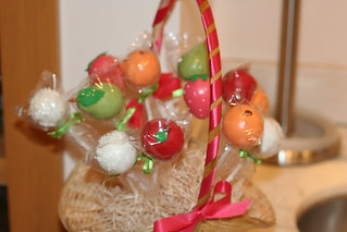 "Close-up of Cake Pop ""Fruit"" Basket 