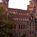 Schloss Heidelberg - Ostfassade - links der Apotheker Turm - mitte Ottheinrichbau - mitte rechts Gläserner Saalbau - rechts Glockenturm