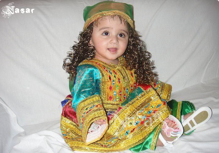 Pakhtun Kid In Traditional Dress Pathan Girl In