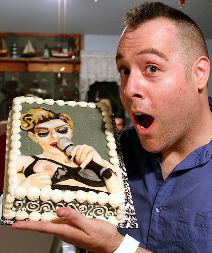 "Tony ""The Pastryarch"" Albanese & his Madonna Nipple Flash MDNA Tour Birthday cake 