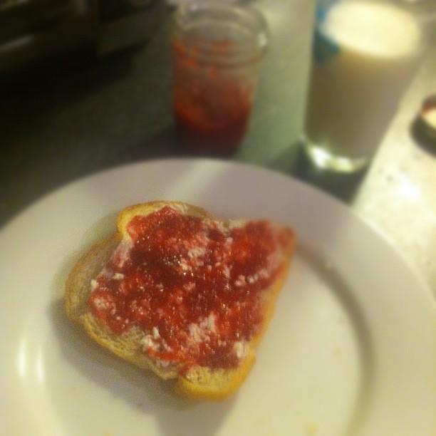 Homemade raspberry jam and goat cheese on freshly baked Luna sourdough ...