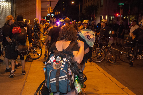 Protesters awaiting arrest after being kettled by Philadelphia PD during wildcat march at NATGAT | by juliacreinhart