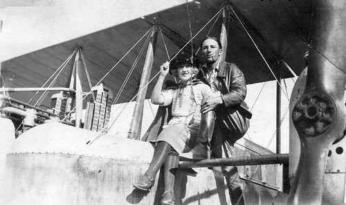 Hester and Ruth Law sitting on the Timm Pacific Hawk, 1919 | by San Diego Air & Space Museum Archives